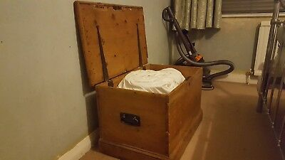 Antique Pine Blanket Box Chest for toy or shoe storage, as a coffee table.