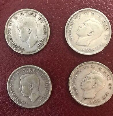4 Piece Lot 1942,1942,1943 And 1946 Silver Canadian Quarter 25 Cent Canada Coin
