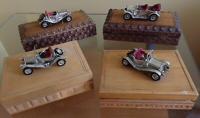 4 x VINTAGE...WOODEN BOXES..WITH VINTAGE CAR MODEL ON TOP..HINGED LID..