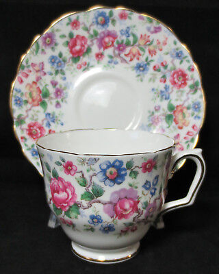 Vintage Cup & Saucer-CROWN STAFFORDSHIRE Bone China England-Multi Color FLORALS