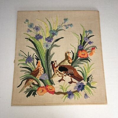 Vintage Erica Wilson 1972 Crewel Embroidered Needlework Picture Quail Floral