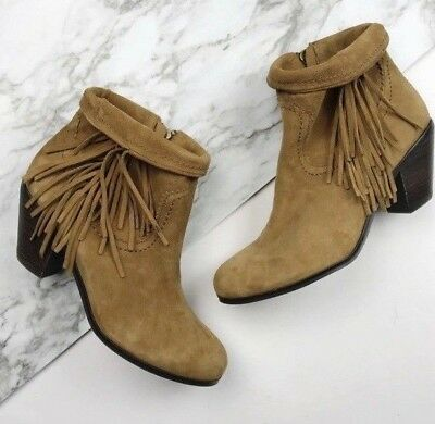 9ac30f38fe8d0 SAM EDELMAN BROWN Louie Boots Suede Soft Saddle Fringe Ankle Booties ...