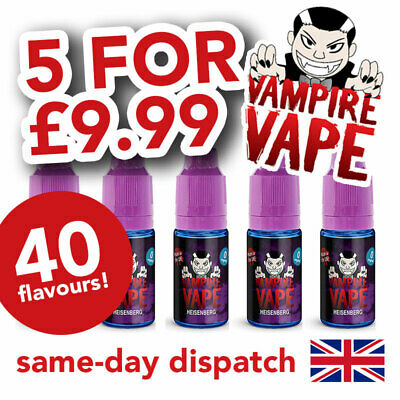 Vampire Vape E-Liquid *5x10ml bottles for £9.99* Choose Flavour & Strength