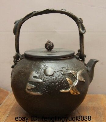 Archaic Japanese Iron Silver Gilt Crane Moon Portable Flagon Kettle Wine Tea Pot