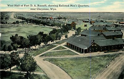 WYOMING Cheyenne Fort D A Russell shows Enlisted Men's Quarters WY 1910 postcard