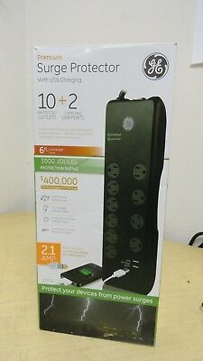 GE Premium Surge Protector 10 Outlet Power Strip w 2 USB Charging ports 6ft cord