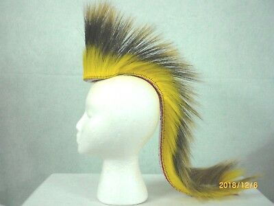 Porcupine Roach, Yellow, 22 inch Out,  White with Red Stripes Yarn Base