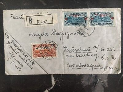 1930 Damascus Syria Registered cover to Czechoslovakia