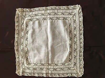 """Antique French Handmade HANKY XIX C wi. 3 rows Valenciennes lace insertion 15.5"""""""