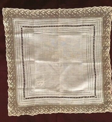 Gorgeous EDWARDIAN HANKY with INITIALS & VALENCIENNES LACE