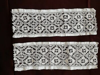 """Two ANTIQUE VENISE LACE INSERTION (fil) HANDMADE 15"""" by 4 3/4"""" X 2"""