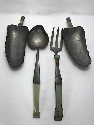19c Chinese Pewter Salad Serving Set & Pair Leaf Dishes Inlaid with Jade Stones