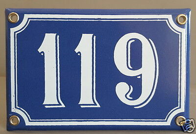 Vintage French Blue Enamel House Number Sign Porcelain Door Gate Plate 119