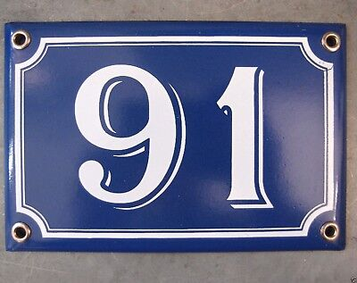 Vintage French Blue Enamel Porcelain Door House Gate Number Sign Plate 91