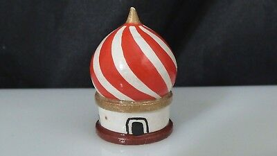 Vintage Russian Wooden Dome Building Thimble Hand Painted Sewing Collectible