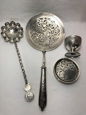 Six Persian Silver Dishes Pastry Server Egg Cup & Royal Coins Ladle SIGNED 470G