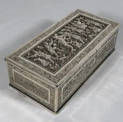 Early Antique Persian Solid Silver Box King & Prince Cameos Dragon Killing Scene