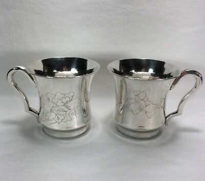 Pair Antique Chinese Pure Silver Cups Hand Chased Birds Flowers WEI CHOU 360g
