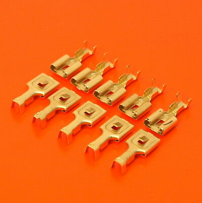High Quality 8mm Female Receptacle Spade Terminals - Non Insulated Brass Crimp