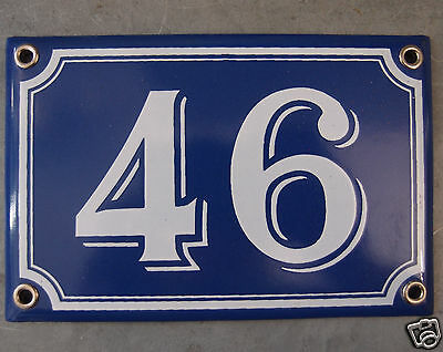 Vintage French Blue Enamel Porcelain Door House Gate Number Sign Plate 46