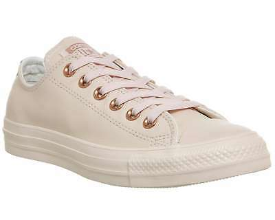 98b57df11cc6 Womens Converse All Star Low Leather Pastel Rose Tan Rose Gold Trainers  Shoes