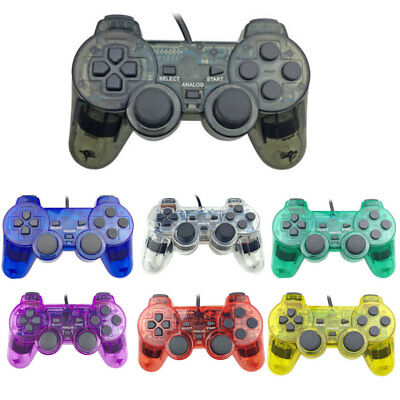 AU_ Wired Dual Shock Game Controller Joypad for Sony Playstation 2 PS2 Newest