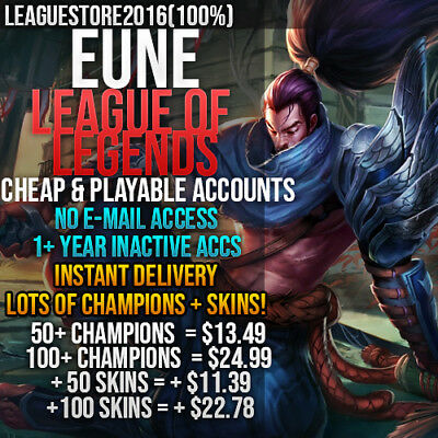 League of Legends Account LoL EUNE Unranked Smurf Lvl 30 All Champs Skins Level