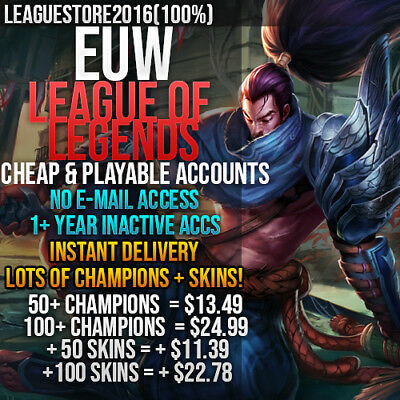 League of Legends Account LoL EUW Unranked Smurf Lvl 30 All Champs Skins Level