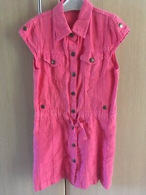 lovely Girl's Marks & Spencer coral red linen dress-age 8 years