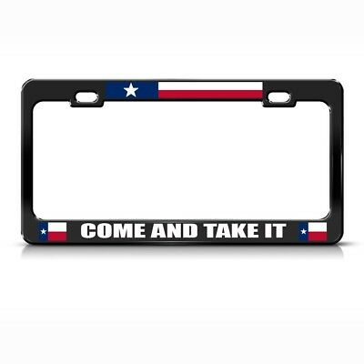 Come And Take It Black Steel Metal License Plate Frame Car Auto Tag Holder