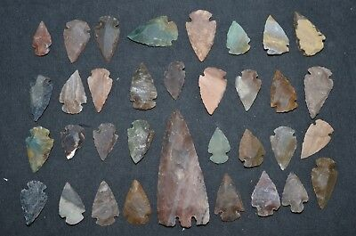 "34 PC Flint Arrowhead Ohio Collection Points 1-3"" Spear Bow Stone Hunting Blade"