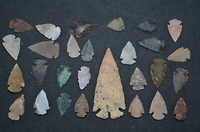 "28 PC Flint Arrowhead Ohio Collection Points 1-3"" Spear Bow Stone Hunting Blade"
