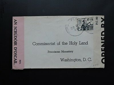 1942 Ireland 2 Wwii Censor Tape Us ! Holy Land Commissariat Franciscan Monastery
