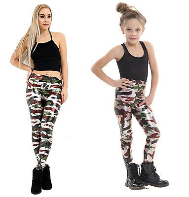 Ladies Girls Army Camouflage Metallic Leggings Kids Foil Shiny Child Dancewear