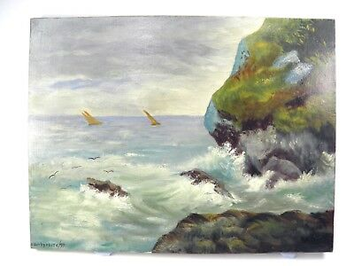 Antique 19th century oil painting on canvas rocky coastal scene G Derbyshire