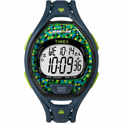 Timex Full-Size Ironman Sleek 50 Resin Strap Watch (Blue/Lime Check)
