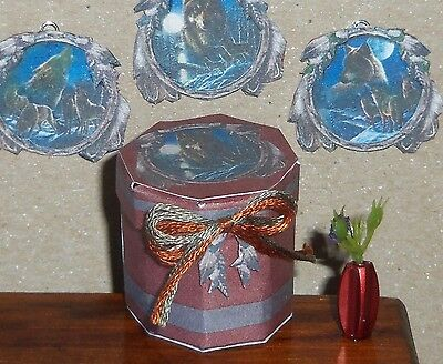 Dollhouse Miniature Storage Hat Box Rustic Wolf Wolves 1:12 Handcrafted