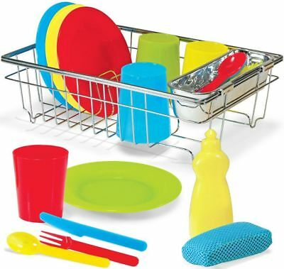 Melissa & Doug Wash & Dry Dish Set Cutlery Plates Cups Pretend Play Kids -BN