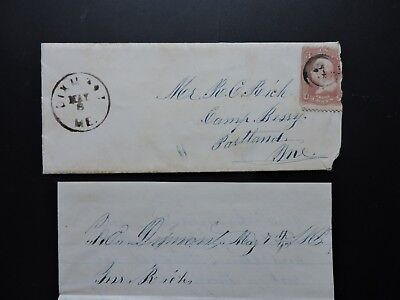 1865 Me Civil War Letter Portland Camp Berry President Abe Lincoln Assassination