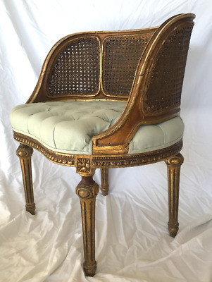 French Antique Louis XVI Kidney Shaped gilt/gold boudoir chair w/tufted seat