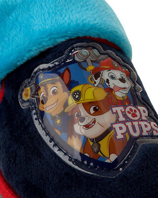 Boys Official Paw Patrol Pup Character Navy Blue Cosy Slippers Kids Uk Size 5-9