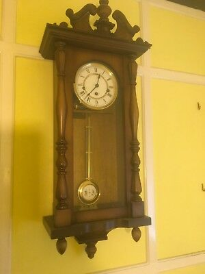 Antique Style Striking  Wall Clock Key  & Pendulum Working