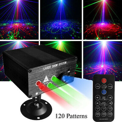 120-Pattern RGB Laser Light DJ Projector LED Stage Effect Lighting Voice Control