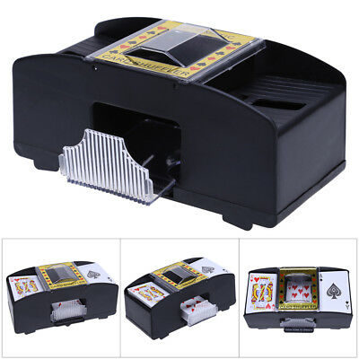 Automatic Card Shuffler 2 Deck Casino Playing Cards Sorter Poker Games Black New