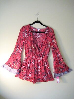Xhilaration Romper Nwt Red Floral Print W/Pockets & Belled Long Sleeves Size S