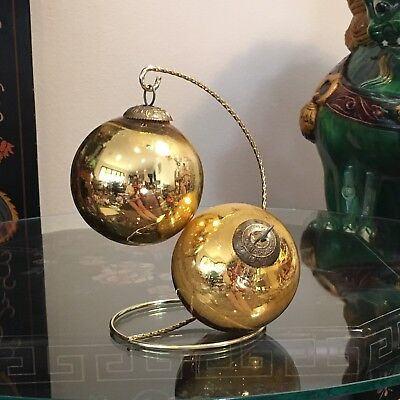 """Pair 2 Vintage German MIDWEST KUGEL Gold Thick Glass 3"""" Ball Christmas Ornaments"""
