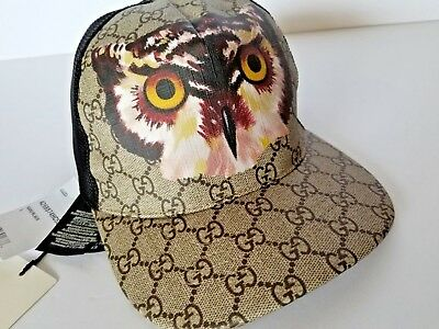 d0cba83c772 New Authentic GUCCI Insects Owl Print GG Supreme Canvas Web Baseball Hat 59  L