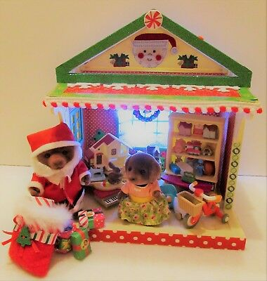 OOAK Sylvanian Decorated Santa's Toy Shop Christmas Lights -Please See Notes