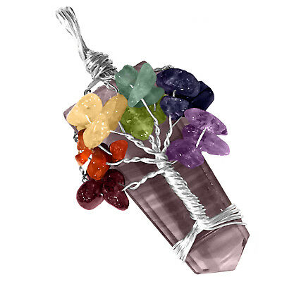 Rainbow Fluorite Crystal Tree Of Life Chakra Pendant Silver Wire Wrap Necklace