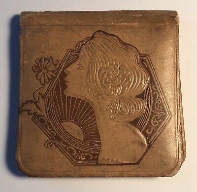 "Antique Art Deco Leather 2 1/2"" Ladies Mirror Compact - Great Estate Find"